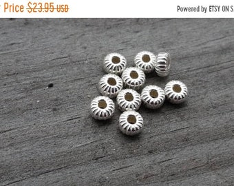 SAVE 20% 100 Pieces Sterling Silver Corrugated Euro Flat Rondelle Beads 4.3x2x1mm Hole MADE In USA