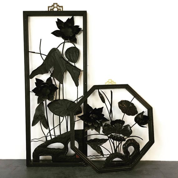 vintage Asian floral wall hangings - Mid Century Modern - black chinoiserie - Hollywood Regency - framed wall decor