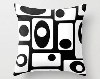 Mod Pillow Cover, Geometric  Pillow Cover, Modern Pillow Cover,  Black & White Pillow Cover, Mid Century Modern Pillow,  Cool Pillow Cover