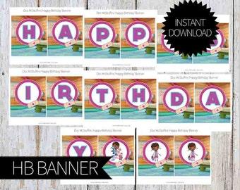 Doc McStuffins Birthday PRINTABLE 'Happy Birthday' Banner- Instant Download   Disney Junior   Doctor McStuffins