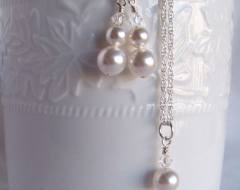 Bridal Necklace Set - Pearl Necklace Set - Swarovski Bridal Set - Bridesmaid Jewelry Set - Bridal Jewellery - Wedding Jewelry -Gifts For Her