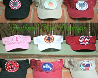 Custom Visor - Embroidered Visor - Golf Visor - Tennis Visor - Mascot Patch Visor - Fishing Patch Visor - Mascot Visor- Womens Visor