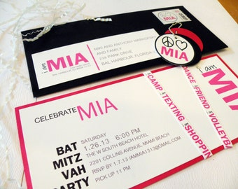 Fun Modern Bat Mitzvah Invitation