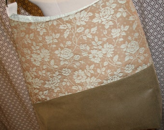 Tan Floral Fabric Tote Bag, Commuter Bag, Fabric Work Tote Bag - Chelsea Bag