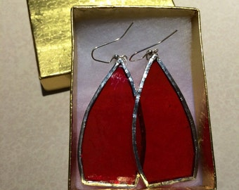 Bright Red Stained Glass Earrings