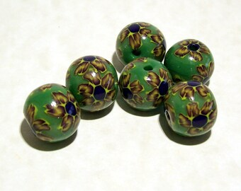 NOW ON SALE Flowers on Green - Handmade Polymer Clay Beads