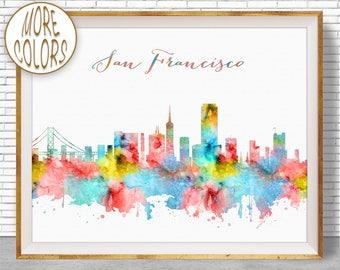 San Francisco Art San Francisco Skyline San Francisco Print San Francisco California Skyline Art ArtPrintZone