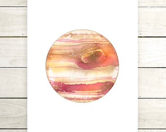 "Planet Watercolor Painting. ""Busara"" Fine Art Print. Galaxy. Decor. Giclée"