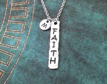 Faith Necklace Stamped Jewelry Faith Jewelry Faith Tag Necklace Faith Pendant Necklace Faith Charm Necklace Religious Jewelry Spiritual