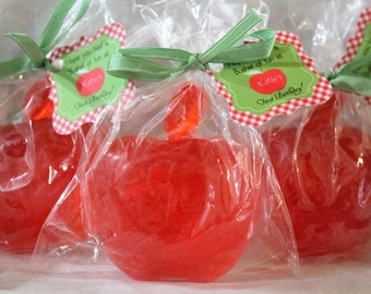 10 Apple Party Favor Soaps:  wedding favors, birthday favors, halloween favors, baby shower favors, apple favors, teacher favors, apple soap