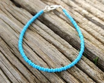 turquoise bracelet boho beach surfing holiday vacation seed bead jewellery