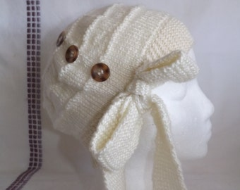 Cloche Hat - Knitted Cloche Hat - Knitted Cloche Hat with Side Tied Bow