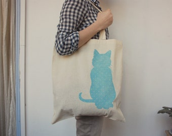 Cotton Printed Polka Dots Blue sky  Cat Tote Shopping Bag