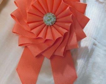 Apricot Pinwheel Cocarde Cockade Brooch Ribbonwork
