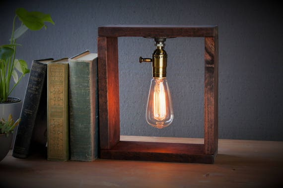 Oak Box Industrial Lighting - Steampunk Lamp - Table Lamp - Edison Light - Vintage Light - Pipe Lamp - Bedside Lamp - Rustic Lighting
