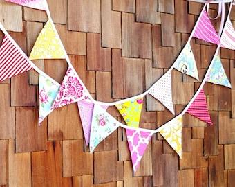 Pair of Bunting Banners, Birthday, Wedding Bunting, Shabby Chic Theme Fabric Flag Banner. Yellow, Aqua, Red, Pink