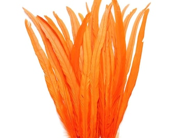 """25pcs 16-18"""" orange rooster coque tail feathers for crafting, decoration, weddng, millinery supply, fly tying, custume SKU: 7C12"""