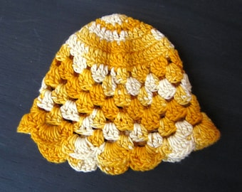 Vintage Crocheted Egg Cozy or Doll Hat, Cap, Variegated Orange to Ivory Thread, Several Available