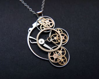 """Watch Parts Necklace """"Dunyach"""" Cascading Recycled Mechanical Clockwork Pendant Elegant Sci Fi Steampunk Mechanical Mind Easter Gift"""