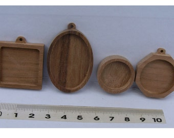 4 pc  unfinished  walnut base blank for orgonite necklaces,  picture frame, making pendant ,wooden bezels cup