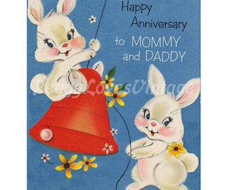 Wedding 20 Anniversary Bunnies with Red Bell a Digital Image from Vintage Greeting Cards - Instant Download