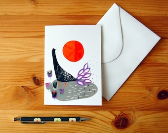 Bird Design Card - Digital Print of Paper Collage - Greeting Card For Any Occassion