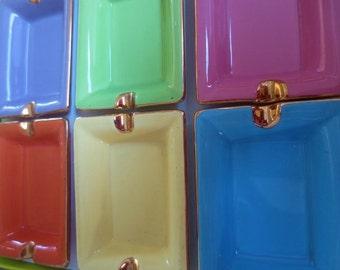 Vintage Ashtrays Set Cendriers of 6 Sherbet Gold Gilt Porcelain Paris France NOS
