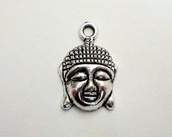 Set of 4 Asian Buddha head charms - silver Metal