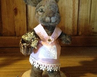 needle felted bunny, needle felted rabbit, alpaca wool rabbit