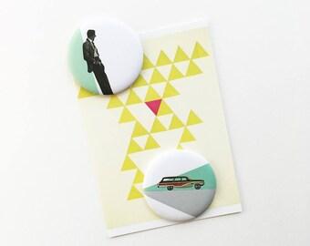 Round Fridge Magnet Set - Cool as a Cucumber