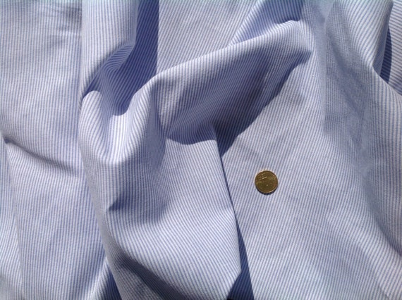High quality polycotton poplin, woven stripes. Baby blue no2