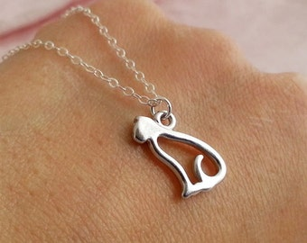 Cat Necklace, Silver Kitty Necklace, Cat Jewelry, Cat Pendant, Animal Jewelry, Kitten Necklace, Cat Pendant