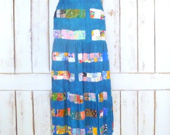 Colorful blue turquoise patchwork boho gypsy vintage maxi skirt/full tiered festival maxi skirt/long gypsy Indian skirt