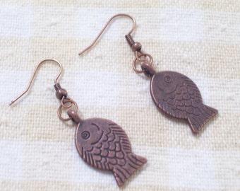 Antiqued Copper Fish Earrings