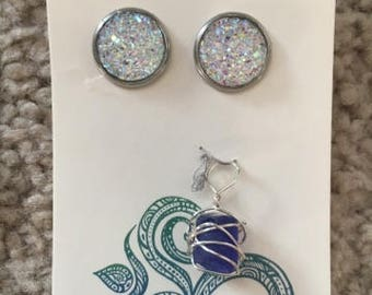 Earrings and sea glass pendant