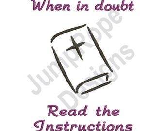 Read The Instructions Bible - Machine Embroidery Design