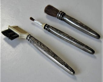 3 Vintage Silverplated  makeup brushes, Repoussé vanity decor, Hollywood Regency, set of 3, Valentine, Wedding, gift idea