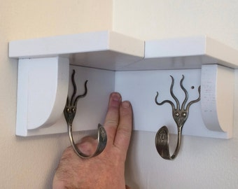 2 Funky Fork Hooks Coat Rack with Corner Shelf Recycled Silverware