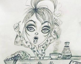 Original Art One Of A Kind Drawlloween Vamp's Morning-Leslie Mehl Art