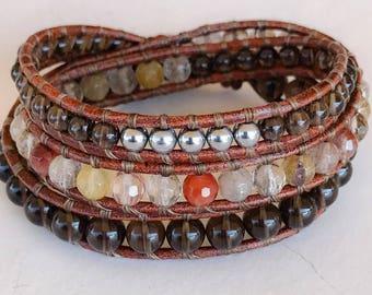 Mixed Quartz leather wrap bracelet