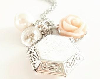 Blush Antique Silver Locket Necklace - Bridesmaid Locket - Flowergirl Locket - Initial Locket - Personalized Locket - Bridesmaid Necklace