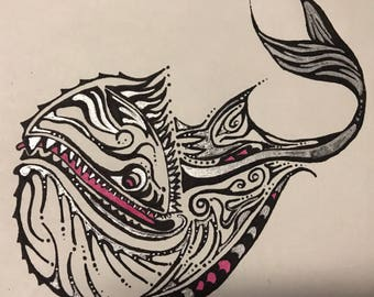 """Original Pen and ink drawing """"Whale of a Time"""""""