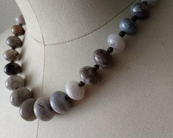 Grey Stone Statement Necklace