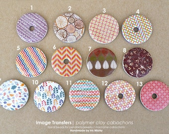 Unique Beads, DIY Beads, Flat Beads, Macrame Bead, Focal, Macrame Cabochon, Clay Beads, Polymer Clay Jewelry, Focal Stone, Fimo Beads, Disc