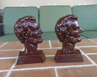 vintage cast iron bookends Abraham Lincoln  US presidents collectible memorabilia historical