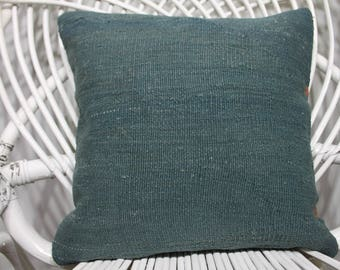 14x14 Antique Kilim Pillow 14x14 Kilim Pillow Blue Color Pillow 14x14 Anatolain Turkey Kilim Pillow Flat pillow  213