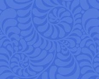 """REMNANT 40% off, 24"""" x 30"""" scrap, 56"""" wide, Laminated cotton fabric aka oilcloth, Blue on Blue swirls"""