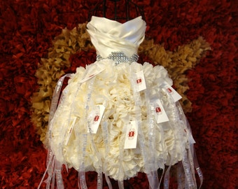 2ft PLACE CARD DRESS Wedding Gown Replica PuffScape Centerpiece - Tissue Paper Flower Pom Puff Bridal Fairy Princess Quinceanera Sweet 16