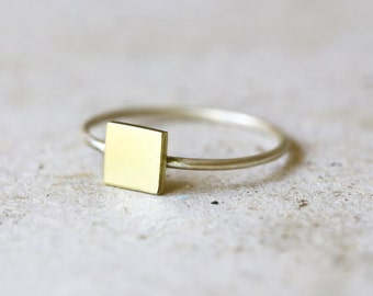 Brass and silver Geometric ring - Silver square ring - Simple ring - Everyday ring - Minimalist jewelry - stacking ring