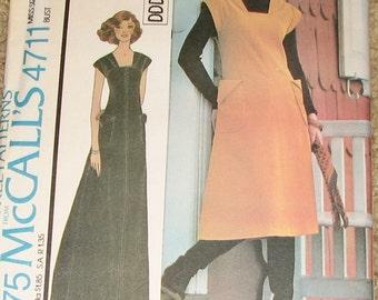 Maxi Dress or Midi Jumper 1970s Vintage Sewing Pattern MCCALLS 4711, UNCUT
